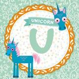 ABC animals U is unicorn. Childrens english alphabet. Vector Royalty Free Stock Images