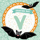ABC animals V is vampire bat. Childrens english alphabet. Vector Stock Photo