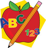 ABC Apple. Apple with a pencil and ABCs Stock Images