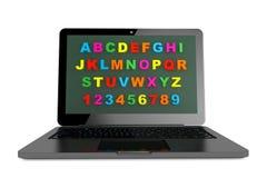 ABC aprende concepto del ordenador. Ordenador portátil moderno con alfabeto Fotos de archivo
