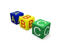 ABC auf Würfeln Stockfoto