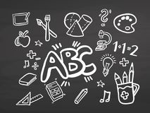 ABC Back to school doodles on chalkboard Royalty Free Stock Photo