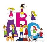 ABC, bambini felici, di nuovo al banco Fotografie Stock Libere da Diritti