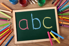 ABC basic reading and writing, blackboard, school desk Royalty Free Stock Images