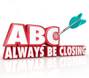 ABC Always Be Closing Target 3d Words Aiming Arrow Bulls-Eye Stock Photo