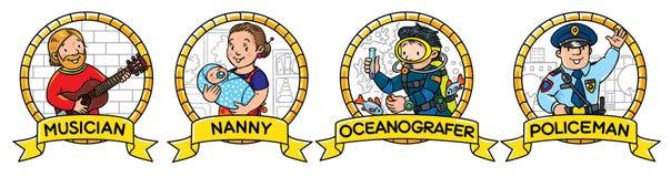 ABC-Berufsatz Musiker, Kinderm?dchen, Polizist, Ozeanograph stock abbildung