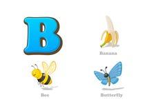 ABC beschriften die lustigen Ikonen B eingestellten Kinder: Banane, Biene, Schmetterling Lizenzfreie Stockfotografie