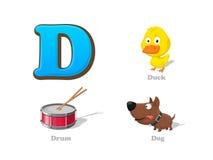 ABC beschriften die lustigen Ikonen D eingestellten Kinder: Ente, Trommel, Hund Lizenzfreie Stockfotos