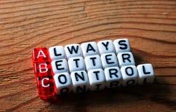 ABC Always Better Control. ABC - Always Better Control acronym on dices Royalty Free Stock Photos