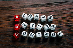 ABC Always Better Control. ABC - Always Better Control acronym on dices Royalty Free Stock Photography