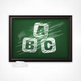 ABC on blackboard. Chalk sketched ABC letters on green blackboard, vector illustration royalty free illustration