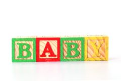 ABC blcoks on white. BABY word made by ABC letter blocks on white stock image