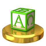 Abc block on gold podium. Isolated on white background royalty free illustration