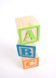 abc blockerar färgrikt trä Fotografering för Bildbyråer