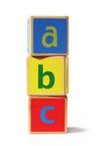 abc blockerar träbyggnad Arkivbild