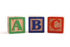 ABC blocks. ABC wooden blocked lined up horizontally Royalty Free Stock Image