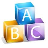 ABC Blocks. Stacked Colorful Baby Alphabet Blocks stock illustration