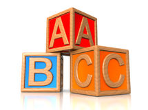 ABC blocks. Wooden alphabet for kids Stock Image