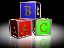 ABC BLOCKS. 3D picture of 3 ABC blocks stock illustration