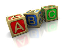 Abc blocks. 3d illustration of wooden abc blocks over white background Royalty Free Stock Photography