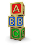Abc blocks. 3d illustration of abc wooden blocks, over white background Royalty Free Stock Photography