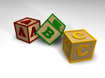 ABC blocks. 3D picture of 3 ABC blocks vector illustration