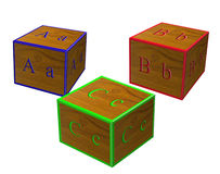 ABC Blocks. For educating children in 3D Stock Photo