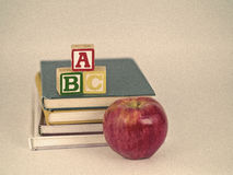 ABC Blocks, Apple and Books Sepia Royalty Free Stock Image