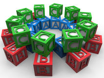 ABC blocks circular array. 3D render illustration of multiple ABC blocks arranged in a circular pattern. The composition is  on a white background with shadows Stock Photos