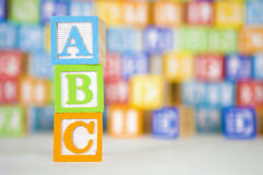 ABC Blocks with Colorful Background Royalty Free Stock Photography