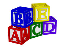 ABC blocks 3d. Isolated on the white background Stock Photos