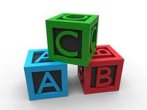 ABC blocks. 3D render illustration of the ABC blocks. The composition is  on a white background with shadows and the blocks core is colored in black Royalty Free Stock Photos