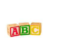 ABC Blocks Flat. Alphabet blocks stacked and staggered in various ways Stock Photo
