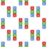 ABC Blocks Flat Icon Seamless Pattern. A seamless pattern with a colorful ABC alphabet blocks flat icon, isolated on white background. Useful also as design Royalty Free Stock Image