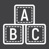 ABC blocks line icon, alphabet cubes and education Royalty Free Stock Photo