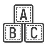ABC blocks line icon, alphabet cubes and education. Vector graphics, a linear pattern on a white background, eps 10 Stock Photo