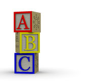 ABC Blocks Overlapping. Three overlapping blocks of wood on a white background Stock Photo