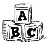 ABC blocks sketch. Doodle style children's block toys with alphabet on them in vector format Royalty Free Stock Photo