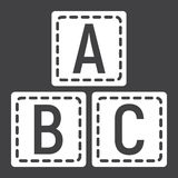 ABC blocks solid icon, alphabet cubes education Stock Photo