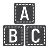 ABC blocks solid icon, alphabet cubes education. ABC blocks solid icon, alphabet cubes and education, vector graphics, a filled pattern on a white background Royalty Free Stock Photography