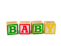 ABC blocks spelling BABY. Colorful alphabet blocks spelling the word BABY Royalty Free Stock Images