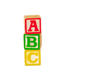 ABC Blocks Stacked 1. Alphabet blocks stacked and staggered in various ways Royalty Free Stock Photo