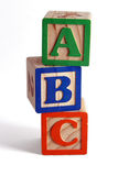 ABC blocks stacked vertically Royalty Free Stock Photos