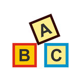 ABC blocks toy flat icon. On white background Stock Image