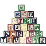ABC Blocks A-Z Illustration. Illustration of a stack of ABC blocks A-Z on white background. Shot with a Canon 20D Stock Image