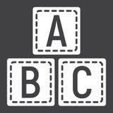 ABC bloque l'icône solide, éducation de cubes en alphabet Photo stock