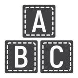 ABC bloque l'icône solide, éducation de cubes en alphabet Photographie stock libre de droits