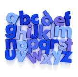 ABC in blue. Plastic Alphabet in blue tones on a neutral background Royalty Free Stock Photography
