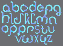 ABC blue font from paper tape. Illustration Stock Images