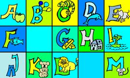 Abc-bokstäver med bilder i tysk och engelsk första version för del 1 stock illustrationer